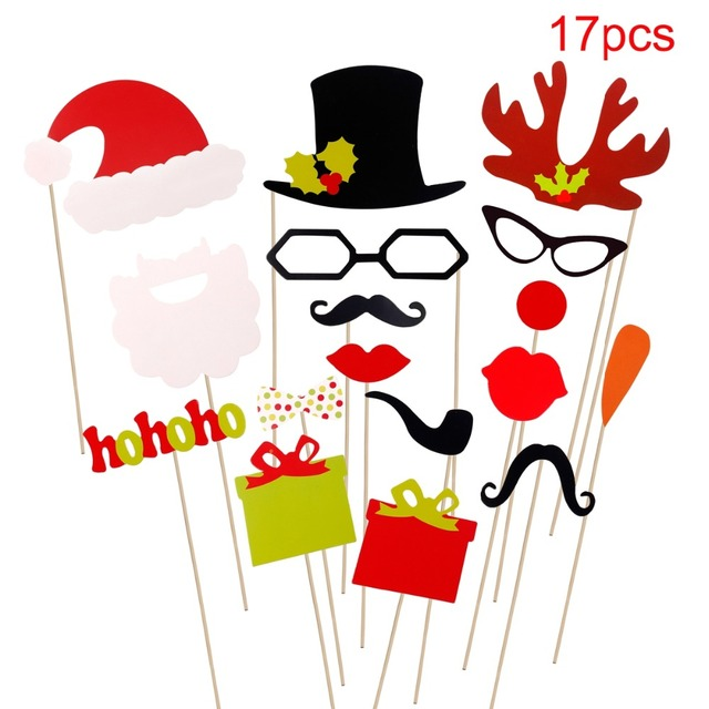 Christmas Themed Photobooth Props 17 pcs Set