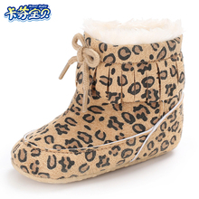 Winter Warm Baby Sko Nyfødte Baby Boys Girls First Walkers Sko Spædbarn Toddler Leopard Tassel Boots Booties 8 Stil 0-18 M