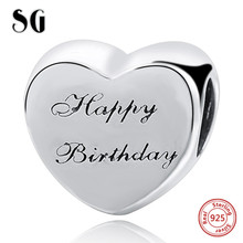 Fit Authentic pandora Charms silver 925 Original Antique Love Heart Zircon Shape Bracelet Beads Jewelry For Happy Birthday Gift