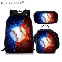 ELVISWORDS 3pc/set Basketball Pattern Teens School Backpack Children Book Bags Boys Schoolbags Students Mochila Infantil