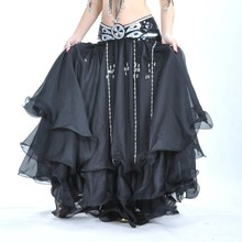High Quality Women Sexy Belly Dance Costume Skirts 3 Rows Belly Dancing Skirt Chiffon for Sale 12 Colors Available