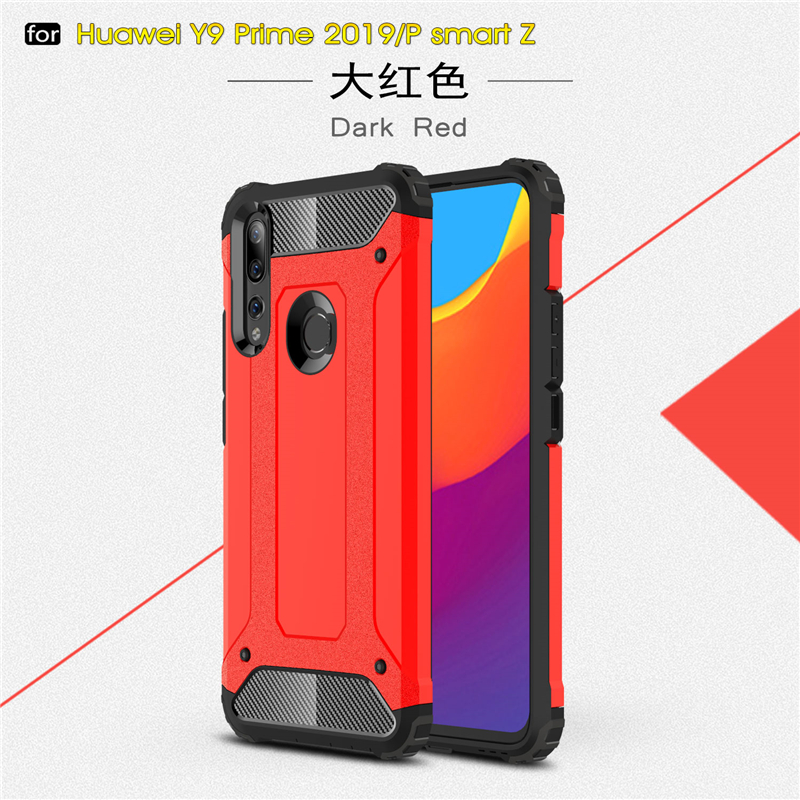 For Huawei P Smart Z Case Silicone Rubber Armor Shell Hard PC Back Phone Cover For Huawei P Smart Z Case For Huawei P Smart Z in Fitted Cases from Cellphones Telecommunications