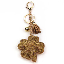 Rhinestone Flower Keychain Tassels Leather Keychains Clover Crystal Key Chain For Car Bag Pendant Handbag Women Rings Keyring
