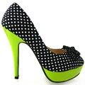 LF30426 Womens Fashion Polka Dots Bow High Heel Platform Stiletto Club/Party Pumps Shoes