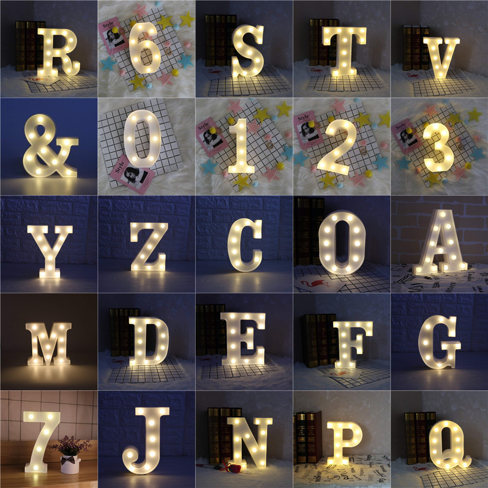 LED Marquee Letter Lights Alphabet Number Light For Sign House Hotel Door Address Plaque Home Wedding Christmas Decoration Lamp