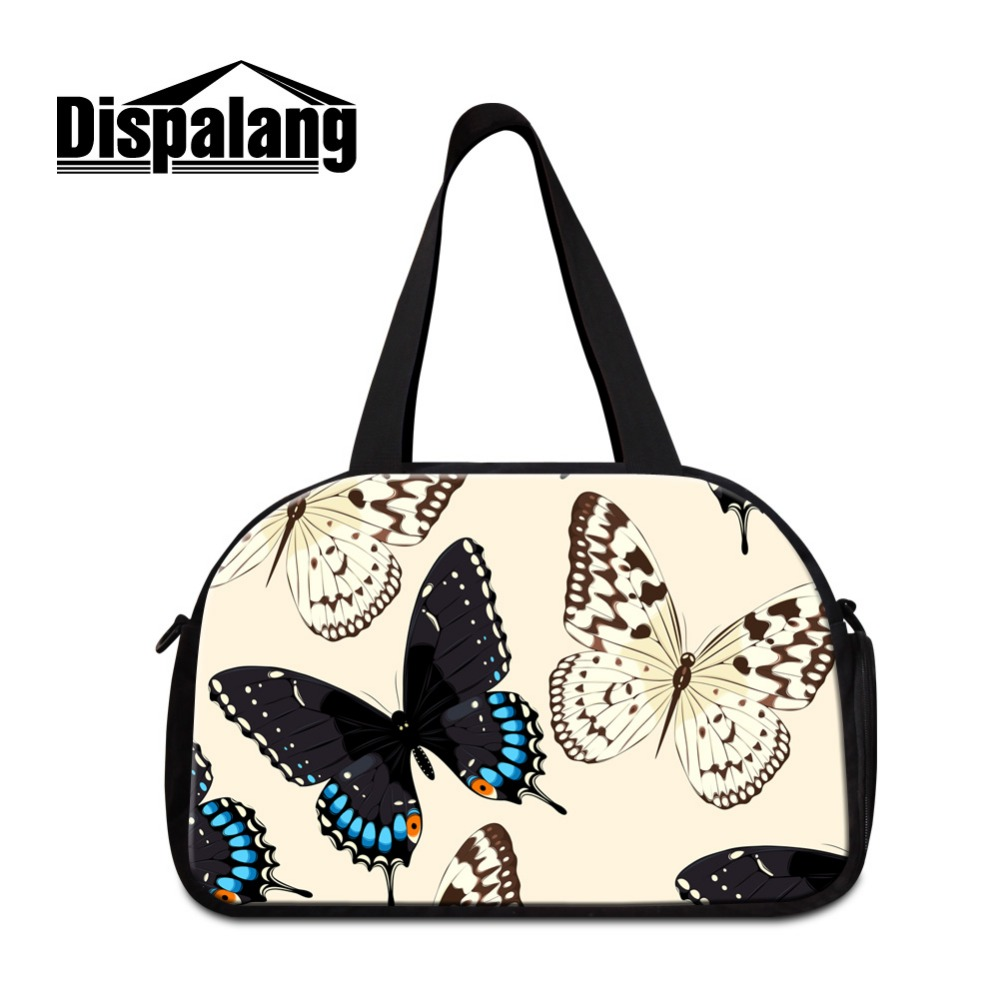 Dispalang Animal Print Shoulder Travel Bags for Girls luggage garment bag Fashion Butterfly large travel duffel bags for Ladies
