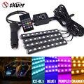 Skuer 4x9 LED de 7 colores 5050 9 SMD 10 W LED RGB Car Auto Piso Interior Decorativa de la Atmósfera de Luz de Tira DC12V Control Remoto