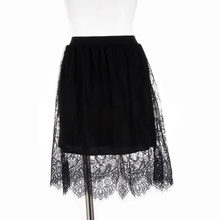 Popular Korea New Lace Hollow Out Skirt Joker Slim Thin Gauze Lined Skirt Straight Waist Lace Mid- Calf Skirt Black And White(China)