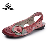 WooPoem 2017 Summer Shoes Woman Breathable Hollow Genuine Leather Sandals Women Casual Retro Flower Sandale Femme