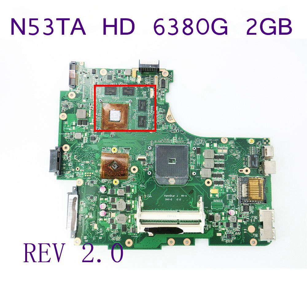 N53TA HD 6380G 2G Motherboard For ASUS Laptop Mainboard REV 2.0 USB 3.0 216-0810005 100% Tested Working Well Free shipping