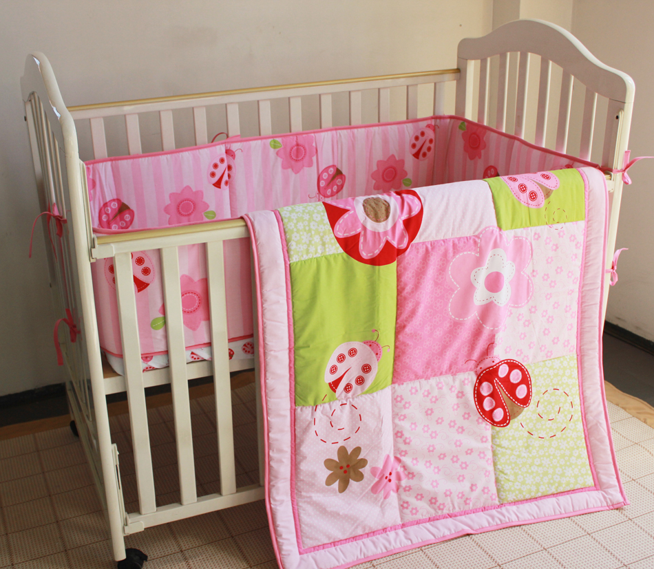 Promotion! 3pcs Embroidery Baby Crib Cot Bedding Set Quilt Bumper Sheet Dust Ruffle ,include (bumpers+duvet+bed cover)
