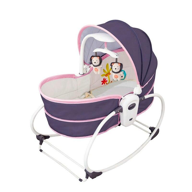 5 en 1 berceau à bascule électrique bébé, berceau électrique Vibration berceau chaise à bascule, peut s'asseoir peut soulever le panier, rose bébé Rocker