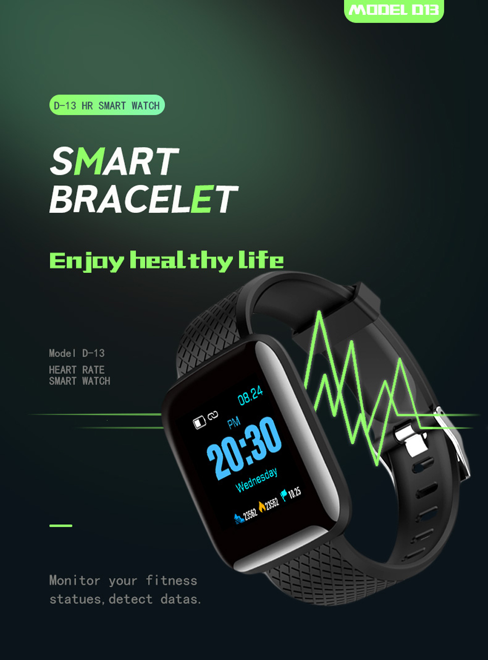HTB1tG0mXvWG3KVjSZPcq6zkbXXaY D13 Smart Watch Bracelet Heart Rate Tracker Pedometers Blood Pressure IP67 Waterproof 116 Plus Wirstband For IOS Androd PK IWO 8