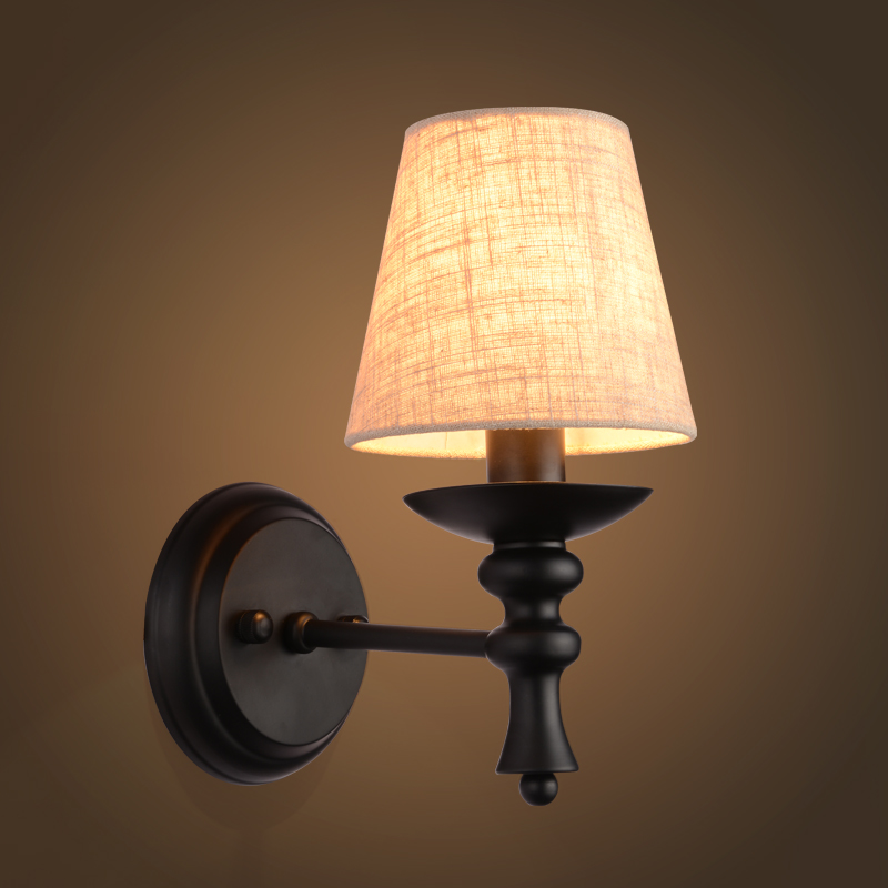American Black Wrought Iron Bedside Lamp Wall Lamp With