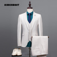 AIMENWANT 2017 New Design Men S Suit Wedding Groomsman Ivory White Formal Jacket Vest Pants Set
