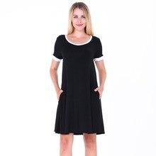 Summer Short Sleeve Pockets Pleated Dress Femme Robe Ete Women Colorblock Round Collar Cotton Casual Shirt