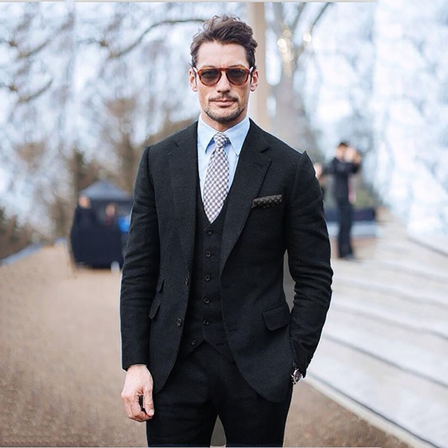 Suit Men Black Men Tweed Suits Jacket Elegant Men Suits For Wedding Groom Tuxedo Slim Fit Winter Men Formal 3 piece