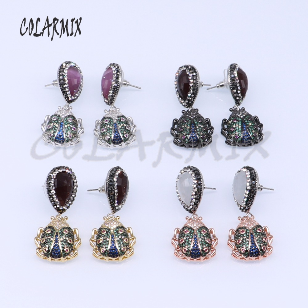 3 pairs insects earrings bee bugs earrings mix colors stone beads wholesale jewelry earrings wholesale jewelry 3892