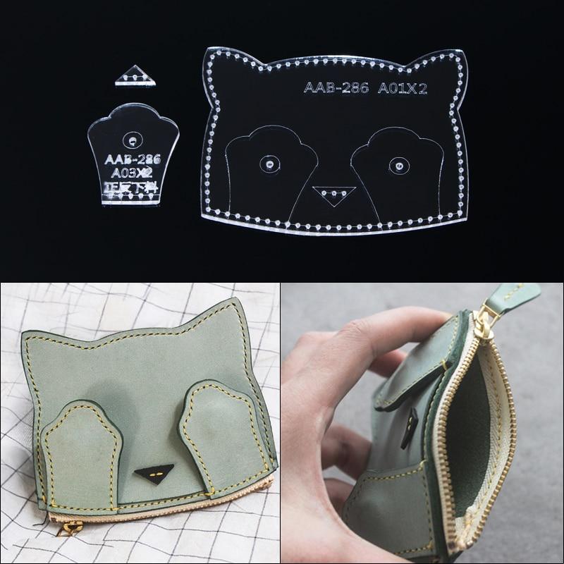 1pcs Handmamde Coin Purse Acrylic Template Leather Pattern DIY Hobby Leathercraft Sewing Pattern Stencils 9*11*1cm