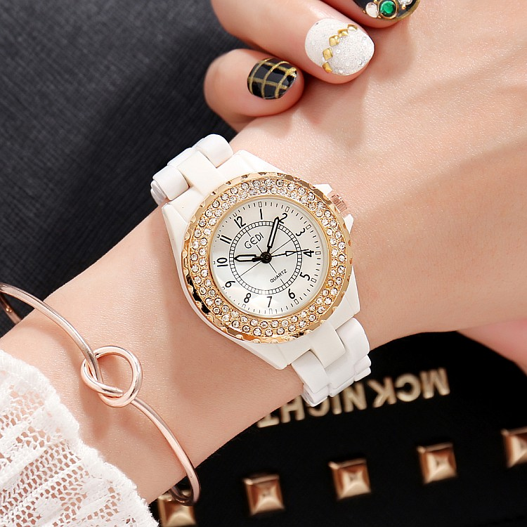 GEDI Fashion White Ceramics Women Watches Top Luxury Brand Ladies - Dameshorloges - Foto 2