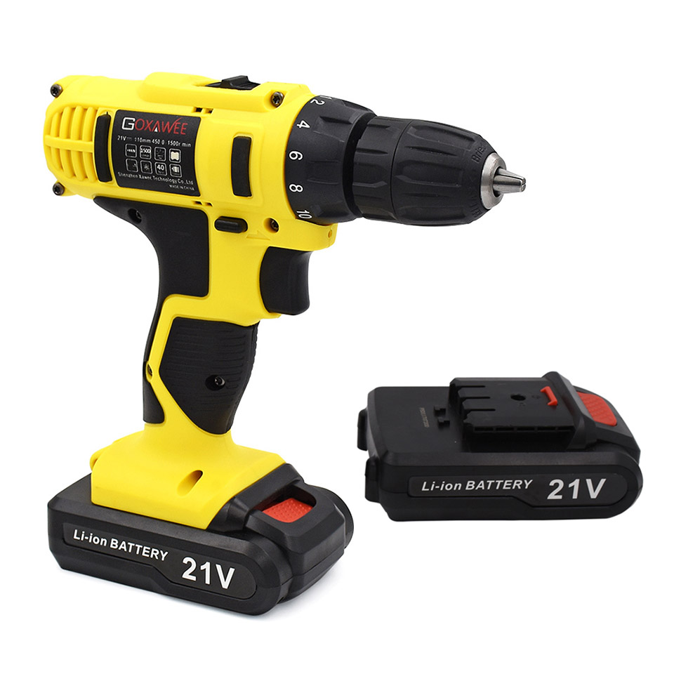 GOXAWEE 21V/12V/16.8V Electric Screwdriver Cordless With Lithium Batteries Rechargeable Mini Drill 2-Speed Wireless Power Tool