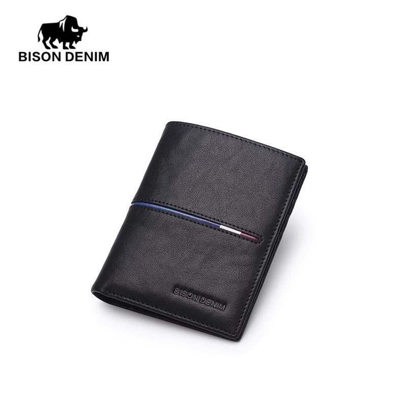 BISON DENIM Brand Genuine First Layer Leather Short Wallet Business Classic Purse Men's Wallet Cards Holder Casual Purse N4437-2 bison denim vintage designer 100