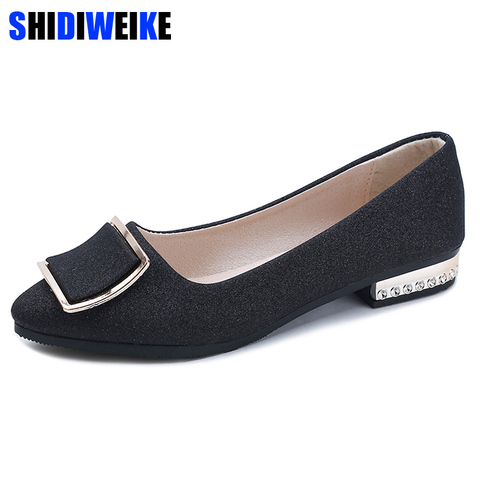 Women Flats Cool Golden Buckle Flat Shoes Women Loafers Ballet Flats Bling Bling Black Shoes Casual Pointed Toe Slipon N189 Lahore