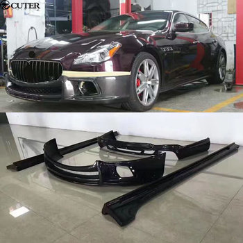 Carbon Fiber Car body kit front bumper lip rear diffuser side skirts For Maserati Quattroporte WALD style 13-16