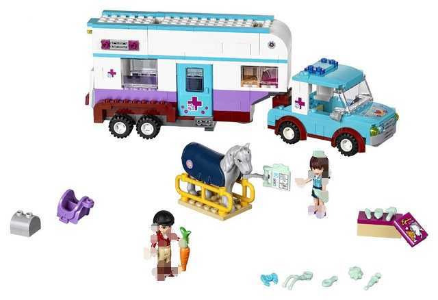 New 10561 Friends Series Horse Vet Trailer Touring Car Model Building Block Bricks Compatible With Lego Best Toys For 41125