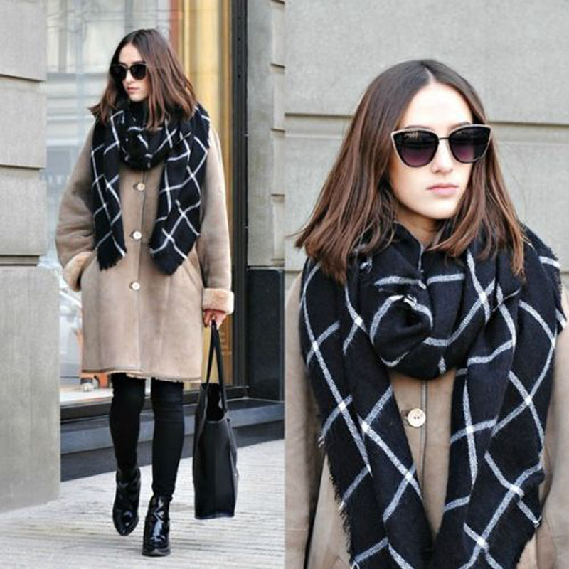 200pcs lot New Fashion Lady Women Blanket black white Plaid Cozy Checked font b Tartan b