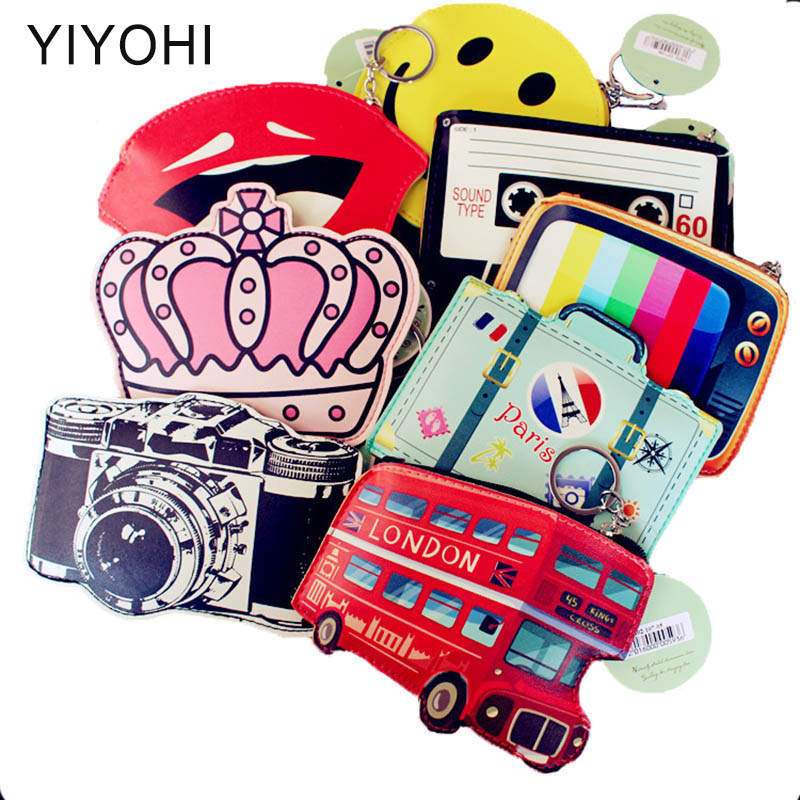 High Quality Cotton PU Leather Bus Camera TV Lipstick Crown Zipper Change Wallet Girls Small Wallet Coin Bank Case Key Chain