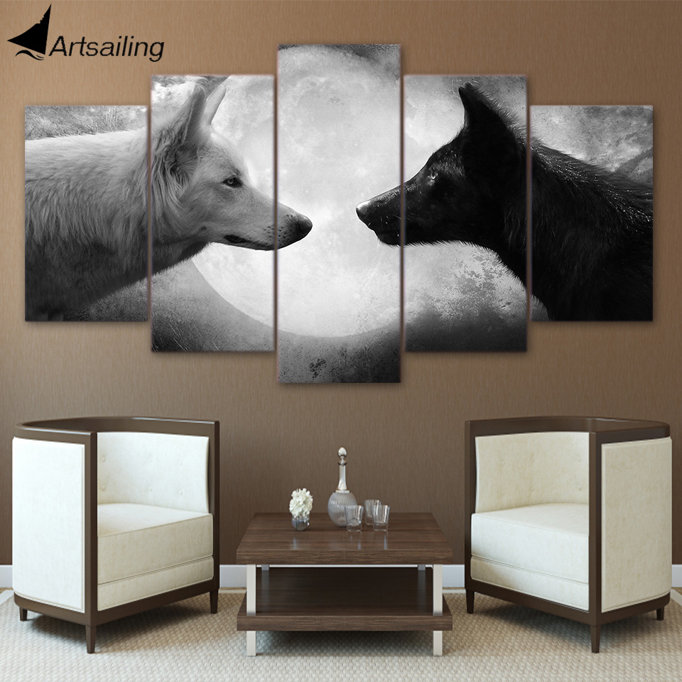 Canvas Paintings Printed 5 Pieces Black And White Wolves Wall Art Canvas Pictures For Living Room Bedroom Home Decor CU-1359A