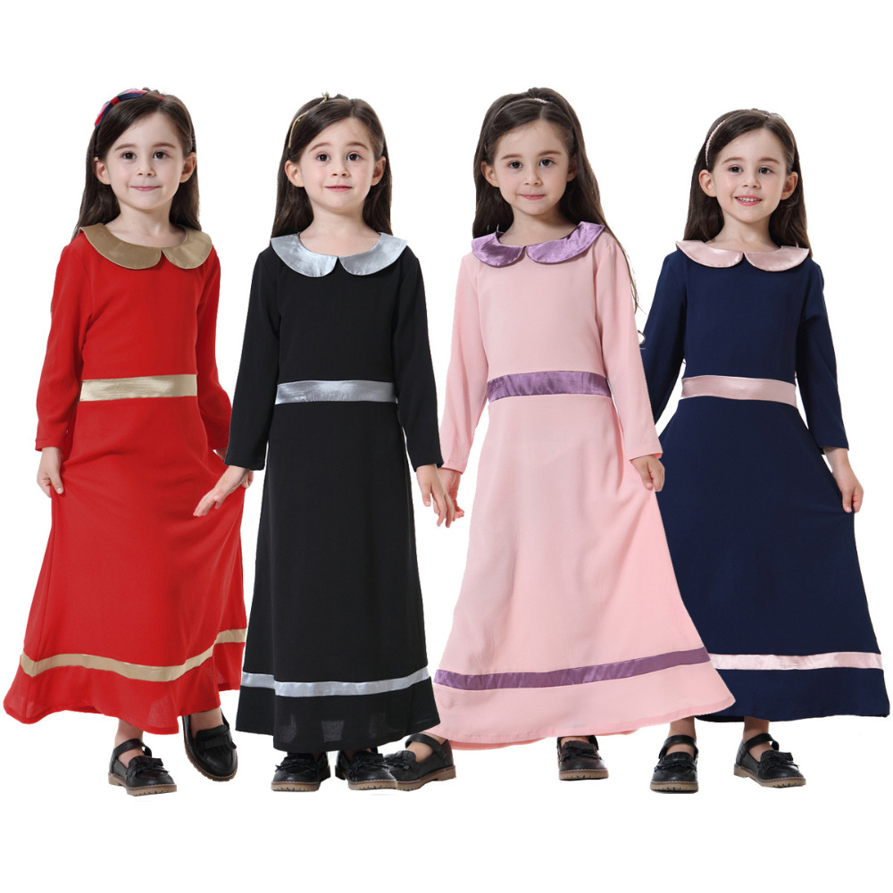 Muslim Dress Girl Arabic Dress Long Thobes Cute Children Moroccan Kaftan Maxi Dresses Abaya For Girls Islamic Clothes CN-063