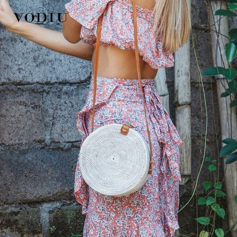 2018 Circle Straw Bags Women Bali Rattan Handbags Beach Hobo Ladies Bohemia Rattan Tote Female Woven Straw Shoulder Bag Round Сумка