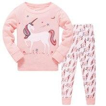 Новые осенние детские пижамные комплекты для мальчиков и девочек, одежда для сна с длинными рукавами и милым единорогом, Детская Хлопковая одежда для сна, домашняя одежда