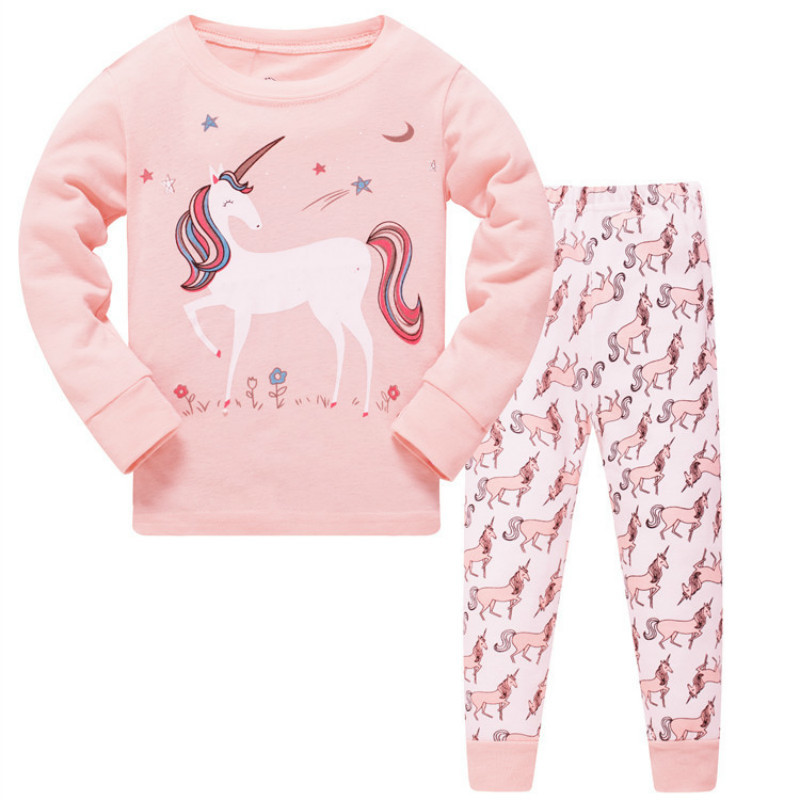 New Autumn Kids   Pajamas     Sets   For Boys Girls Long Sleeve Lovely Unicorn Sleepwear Children Cotton Nightwear Home Wear