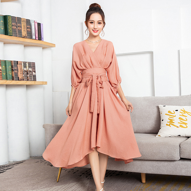 Bandage Dress Pink Dresses 2019 Fall Winter Office Lady Partry Club Vintage Women Elegant V Neck