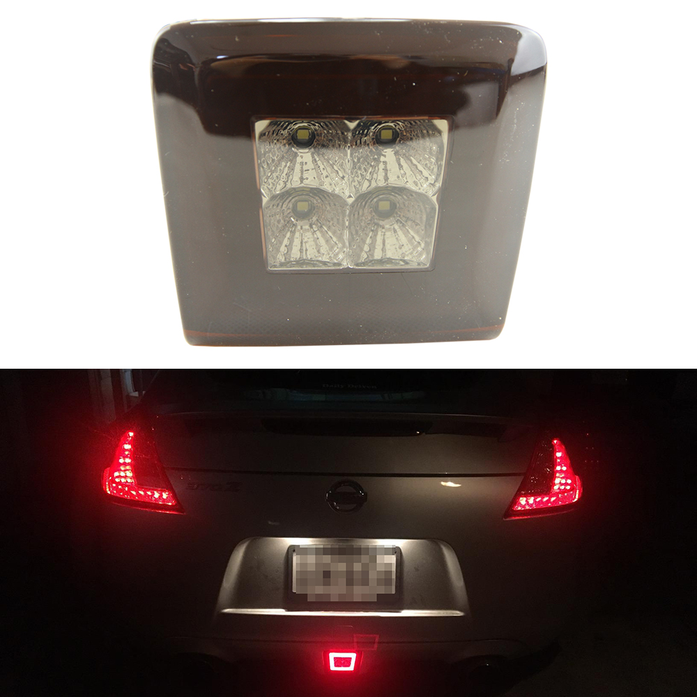 Red/Smoke lens LED Rear Fog Light, Brake and Backup Reverse light For 2009 up Nissan 370Z Car Styling Automotive Accessories