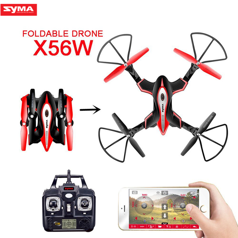 Syma X56W Foldable Drone With Camera HD Wifi FPV RC Quadcopter Remote Control Altitude Hold Headless Mode RC Helicopter Drone mini rc quadcopter foldable pocket drone with wifi fpv 0 3mp hd camera headless mode altitude hold rc helicopter vs s9hw