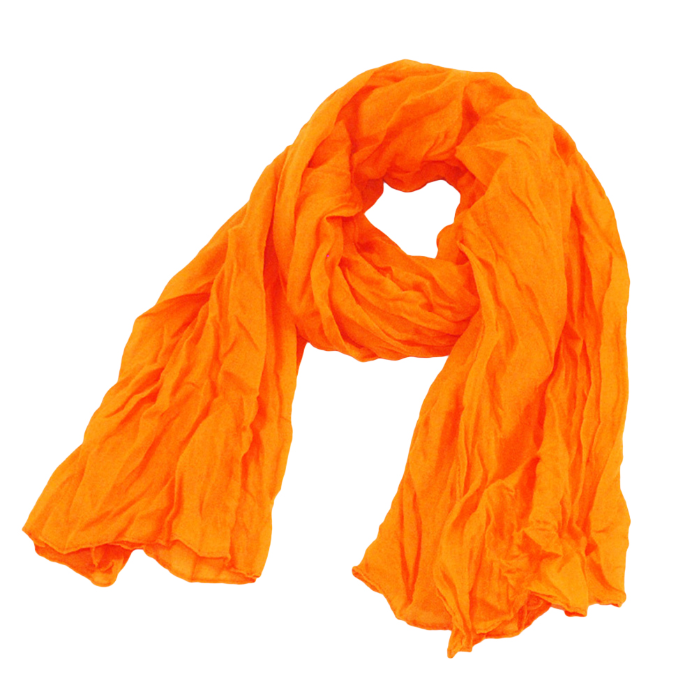 Fashion Women Voile Autumn Winter Solid Color Long Scarf Lightweight Scarf Sheer Wrap Shawl For Clothes Decoration (Orange)