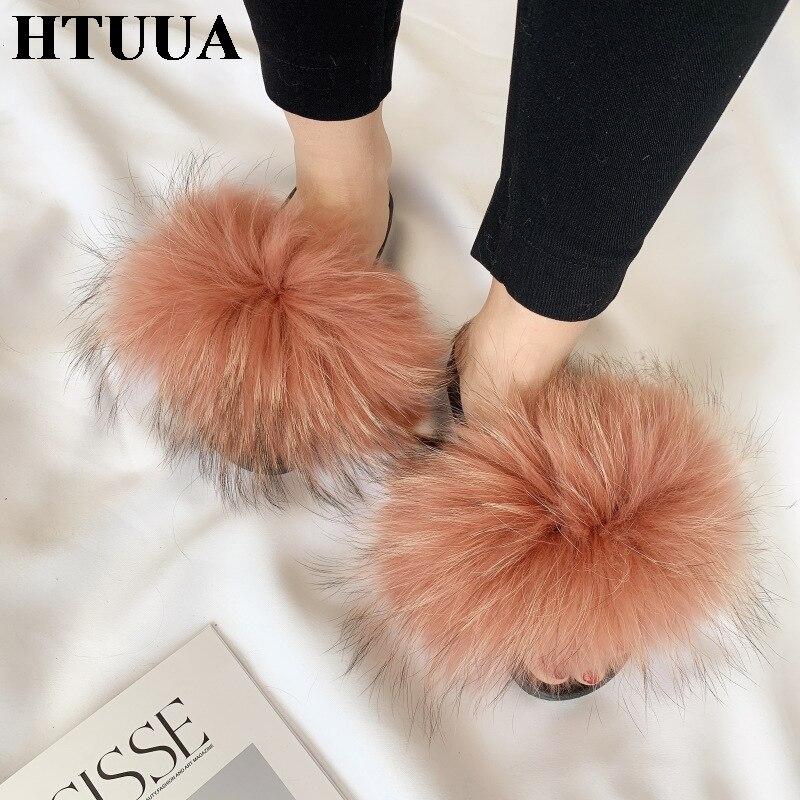 HTUUA Fur Slippers Winter Flat-Shoes Plush Furry Fashion Summer Women Indoor Warm Autumn