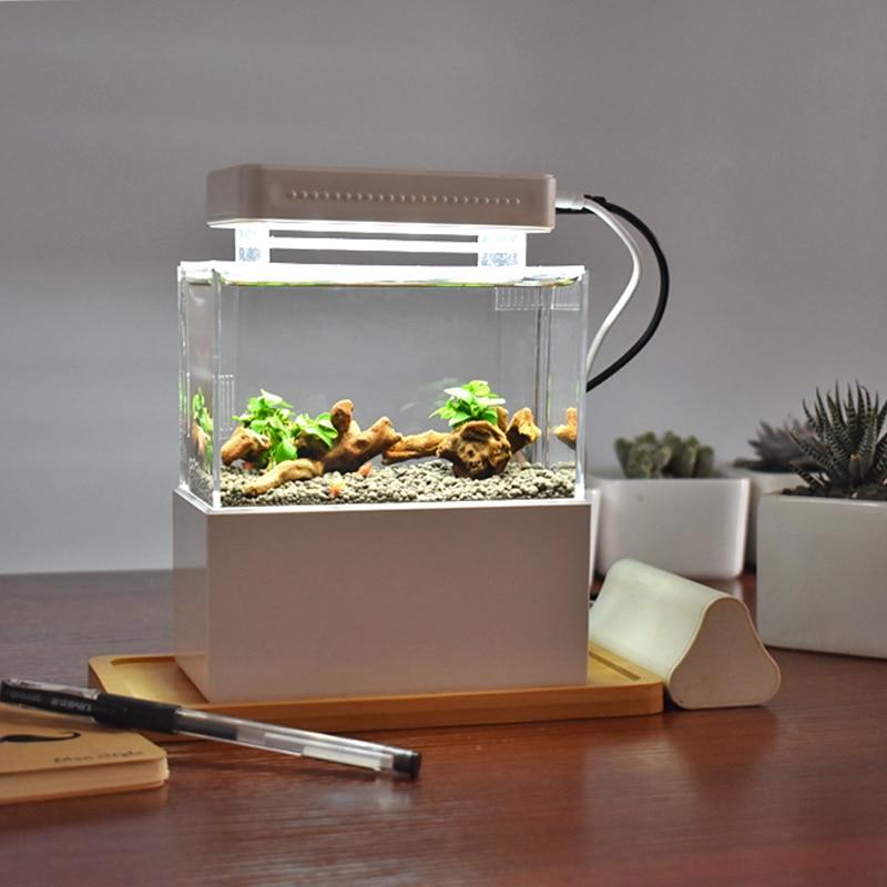 Petit réservoir de poisson en plastique Portable Aquarium aquaponique de bureau bol de poisson Betta avec Filtration de l'eau LED et pompe à Air calme pour la décoration