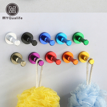 Decorative Aluminum Candy Color Wall Hooks Towel Hanger 9-colors Clothes hanger & Metal & Towel & coat&Robe Hooks 1pc