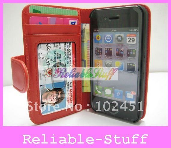 For iPhone 4S Leather Case,Wallet Credit ID Card Horizontal Flip Leather Case Cover Pouch for iPhone 4S 4GS 4 4G 30pcs ipac233