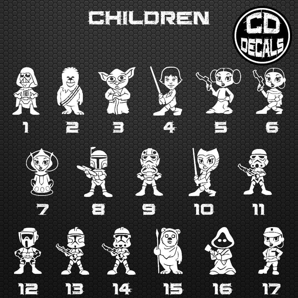 Aliexpresscom  Buy Star Wars Stick Figure Family Vinyl Decal - Star wars family car decals