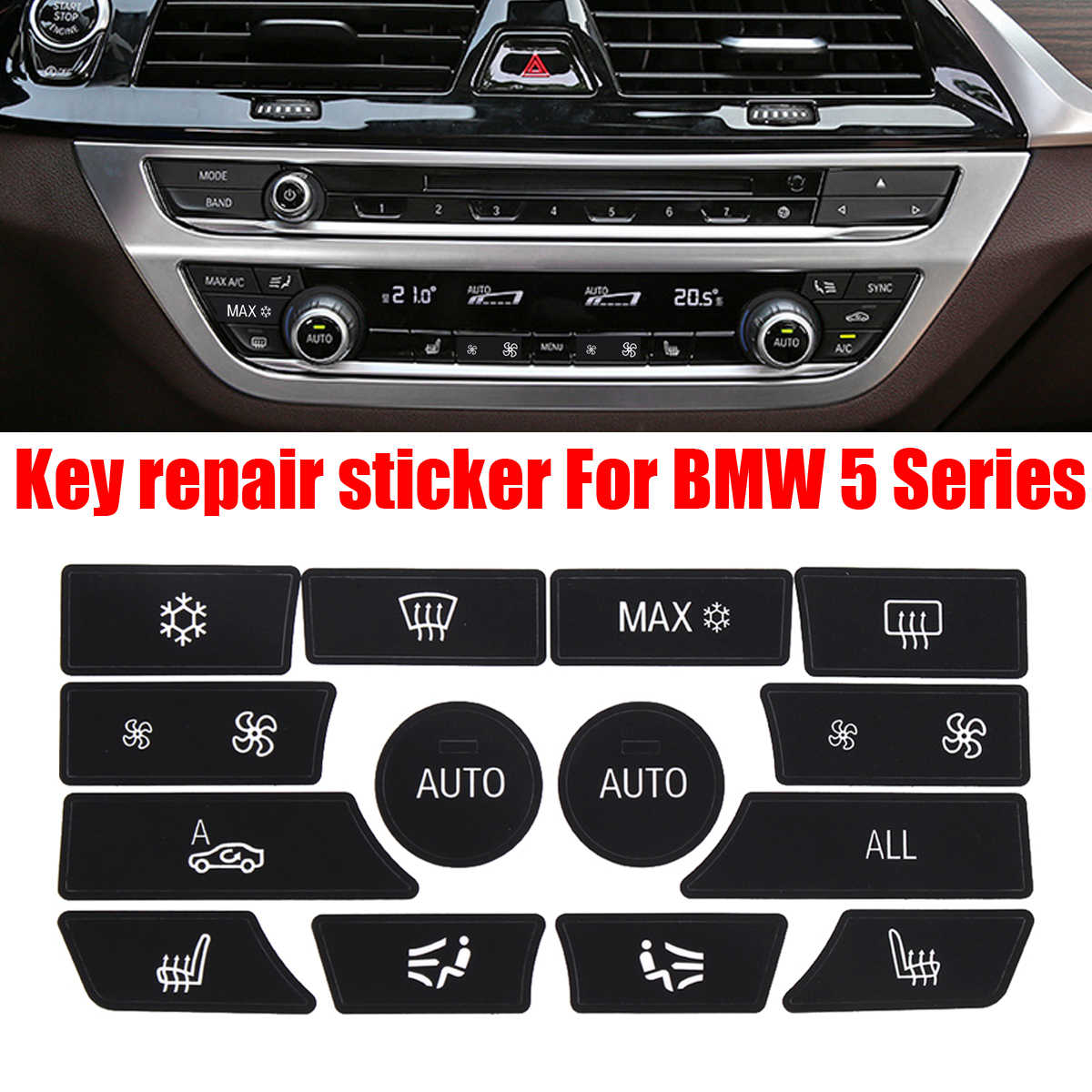 button sticker for bmw dash climate control panel button repair car sticker decal kit for bmw 5 series car sticker