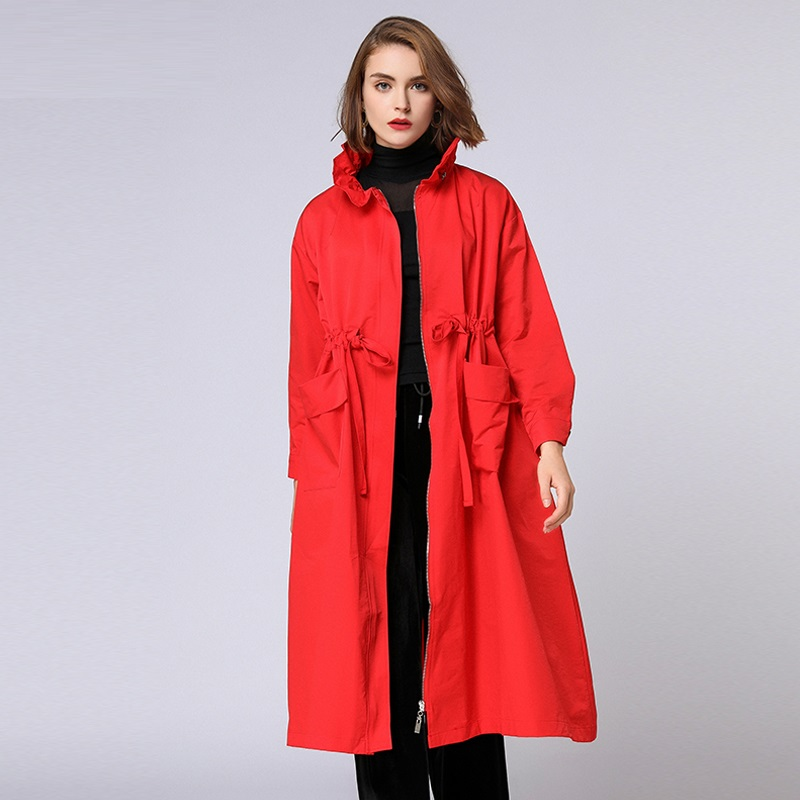 Autumn Women Long   Trench   Coat Waist Drawstring Turtleneck zipper Coat loose elegant fashion   Trench   Windbreaker female Outfit 4XL