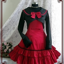 Новое милое хлопковое платье лолиты с длинными рукавами и бантом для косплея; платье из двух предметов; школьная форма для студентов; костюмы Лолиты