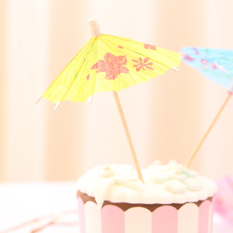 48pcs Paper Umbrella Cup Card Birthday Wedding Cakes Dessert Labels Cocktail Coffee Drinks Cups Cards Holiday Decorations