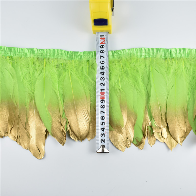 Wholesale 15-20CM Gold Dipped Apple Green Goose Feathers Trims Fringe Ribbons Feather Fo ...